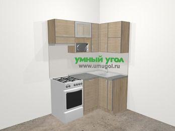 Кухни пластиковые угловые в стиле лофт 5,0 м², 160 на 100 см, Чибли бежевый, верхние модули 72 см, посудомоечная машина, верхний модуль под свч, отдельно стоящая плита