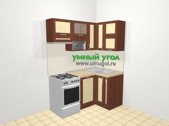 Угловая кухня из рамочного МДФ 5,0 м², 160 на 100 см, Вишня темная / Крем, верхние модули 72 см, посудомоечная машина, верхний модуль под свч, отдельно стоящая плита