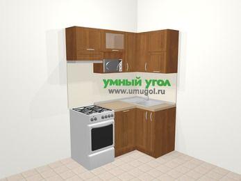 Угловая кухня из рамочного МДФ 5,0 м², 160 на 100 см, Орех, верхние модули 72 см, посудомоечная машина, верхний модуль под свч, отдельно стоящая плита