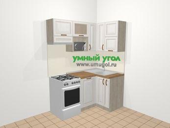 Угловая кухня МДФ патина в классическом стиле 5,0 м², 160 на 100 см, Лиственница белая, верхние модули 72 см, посудомоечная машина, верхний модуль под свч, отдельно стоящая плита