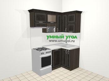Угловая кухня МДФ патина в классическом стиле 5,0 м², 160 на 100 см, Венге, верхние модули 72 см, посудомоечная машина, верхний модуль под свч, отдельно стоящая плита