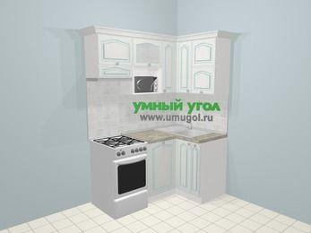 Угловая кухня МДФ патина в стиле прованс 5,0 м², 160 на 100 см, Лиственница белая, верхние модули 72 см, посудомоечная машина, верхний модуль под свч, отдельно стоящая плита
