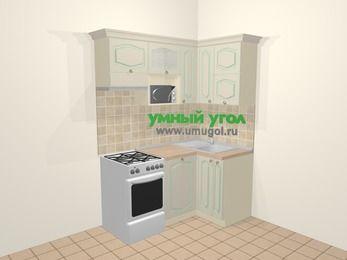 Угловая кухня МДФ патина в стиле прованс 5,0 м², 160 на 100 см, Керамик, верхние модули 72 см, посудомоечная машина, верхний модуль под свч, отдельно стоящая плита
