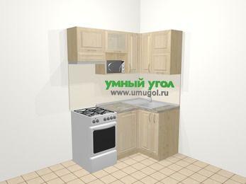 Угловая кухня из массива дерева в классическом стиле 5,0 м², 160 на 100 см, Светло-коричневые оттенки, верхние модули 72 см, посудомоечная машина, верхний модуль под свч, отдельно стоящая плита