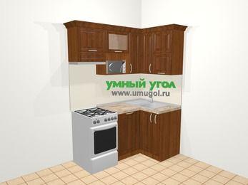 Угловая кухня из массива дерева в классическом стиле 5,0 м², 160 на 100 см, Темно-коричневые оттенки, верхние модули 72 см, посудомоечная машина, верхний модуль под свч, отдельно стоящая плита