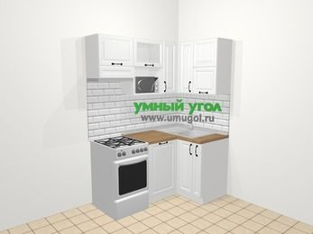 Угловая кухня из массива дерева в скандинавском стиле 5,0 м², 160 на 100 см, Белые оттенки, верхние модули 72 см, посудомоечная машина, верхний модуль под свч, отдельно стоящая плита