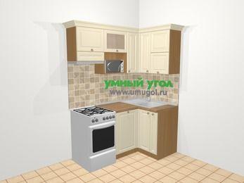 Угловая кухня из массива дерева в стиле кантри 5,0 м², 160 на 100 см, Бежевые оттенки, верхние модули 72 см, посудомоечная машина, верхний модуль под свч, отдельно стоящая плита