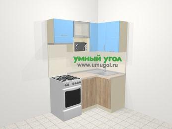 Угловая кухня из ЛДСП EGGER 5,0 м², 160 на 100 см, Голубой / Дуб, верхние модули 72 см, посудомоечная машина, верхний модуль под свч, отдельно стоящая плита
