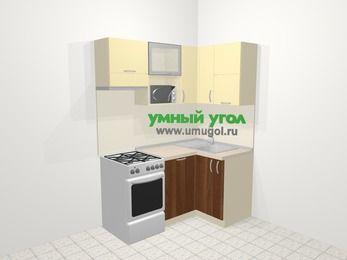 Угловая кухня из ЛДСП EGGER 5,0 м², 160 на 100 см, Ваниль / Орех, верхние модули 72 см, посудомоечная машина, верхний модуль под свч, отдельно стоящая плита