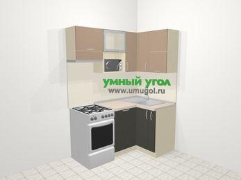 Угловая кухня из ЛДСП EGGER 5,0 м², 160 на 100 см, Бежевый / Трюфель, верхние модули 72 см, посудомоечная машина, верхний модуль под свч, отдельно стоящая плита