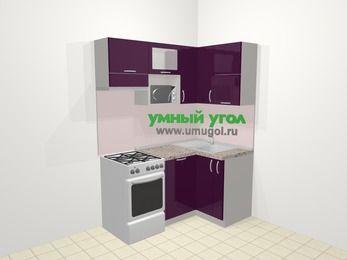 Угловая кухня МДФ глянец в современном стиле 5,0 м², 160 на 100 см, Баклажан, верхние модули 72 см, посудомоечная машина, верхний модуль под свч, отдельно стоящая плита