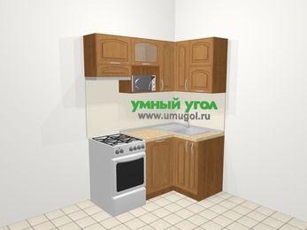 Угловая кухня МДФ патина в классическом стиле 5,0 м², 160 на 100 см, Ольха, верхние модули 72 см, посудомоечная машина, верхний модуль под свч, отдельно стоящая плита