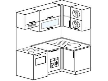 Угловая кухня 5,0 м² (1,6✕1,0 м), верхние модули 72 см, посудомоечная машина, отдельно стоящая плита