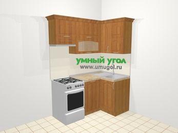 Угловая кухня МДФ матовый в классическом стиле 5,0 м², 160 на 100 см, Вишня, верхние модули 72 см, посудомоечная машина, отдельно стоящая плита