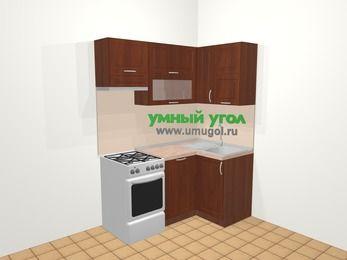 Угловая кухня МДФ матовый в классическом стиле 5,0 м², 160 на 100 см, Вишня темная, верхние модули 72 см, посудомоечная машина, отдельно стоящая плита
