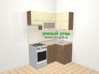 Угловая кухня МДФ матовый в современном стиле 5,0 м², 160 на 100 см, Ваниль / Лиственница бронзовая, верхние модули 72 см, посудомоечная машина, отдельно стоящая плита
