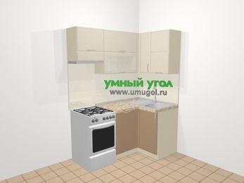 Угловая кухня МДФ матовый в современном стиле 5,0 м², 160 на 100 см, Керамик / Кофе, верхние модули 72 см, посудомоечная машина, отдельно стоящая плита
