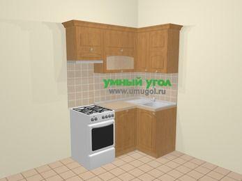 Угловая кухня МДФ матовый в стиле кантри 5,0 м², 160 на 100 см, Ольха, верхние модули 72 см, посудомоечная машина, отдельно стоящая плита