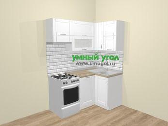Угловая кухня МДФ матовый  в скандинавском стиле 5,0 м², 160 на 100 см, Белый, верхние модули 72 см, посудомоечная машина, отдельно стоящая плита