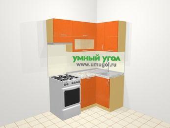 Угловая кухня МДФ металлик в современном стиле 5,0 м², 160 на 100 см, Оранжевый металлик, верхние модули 72 см, посудомоечная машина, отдельно стоящая плита
