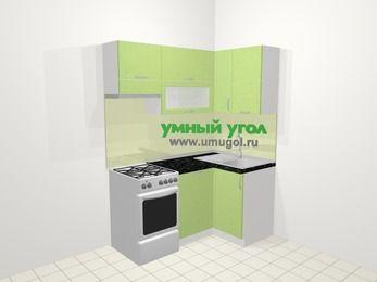 Угловая кухня МДФ металлик в современном стиле 5,0 м², 160 на 100 см, Салатовый металлик, верхние модули 72 см, посудомоечная машина, отдельно стоящая плита