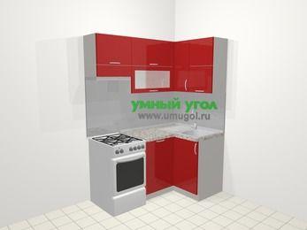 Угловая кухня МДФ глянец в современном стиле 5,0 м², 160 на 100 см, Красный, верхние модули 72 см, посудомоечная машина, отдельно стоящая плита