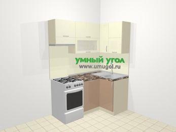 Угловая кухня МДФ глянец в современном стиле 5,0 м², 160 на 100 см, Жасмин / Капучино, верхние модули 72 см, посудомоечная машина, отдельно стоящая плита