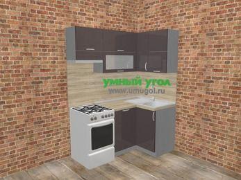 Угловая кухня МДФ глянец в стиле лофт 5,0 м², 160 на 100 см, Шоколад, верхние модули 72 см, посудомоечная машина, отдельно стоящая плита
