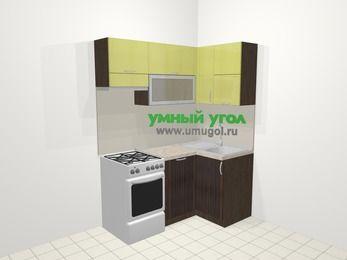 Кухни пластиковые угловые в современном стиле 5,0 м², 160 на 100 см, Желтый Галлион глянец / Дерево Мокка, верхние модули 72 см, посудомоечная машина, отдельно стоящая плита
