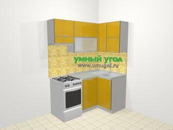 Кухни пластиковые угловые в современном стиле 5,0 м², 160 на 100 см, Желтый глянец, верхние модули 72 см, посудомоечная машина, отдельно стоящая плита