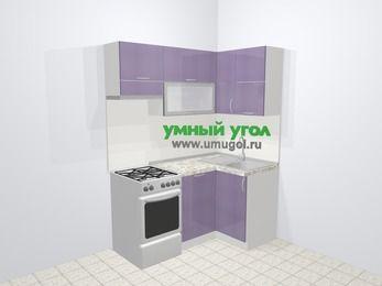 Кухни пластиковые угловые в современном стиле 5,0 м², 160 на 100 см, Сиреневый глянец, верхние модули 72 см, посудомоечная машина, отдельно стоящая плита