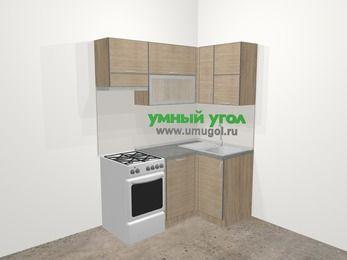 Кухни пластиковые угловые в стиле лофт 5,0 м², 160 на 100 см, Чибли бежевый, верхние модули 72 см, посудомоечная машина, отдельно стоящая плита
