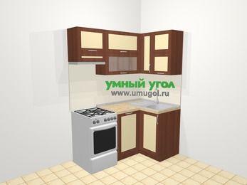 Угловая кухня из рамочного МДФ 5,0 м², 160 на 100 см, Вишня темная / Крем, верхние модули 72 см, посудомоечная машина, отдельно стоящая плита