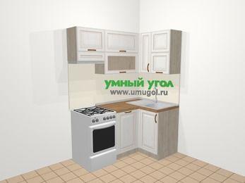 Угловая кухня МДФ патина в классическом стиле 5,0 м², 160 на 100 см, Лиственница белая, верхние модули 72 см, посудомоечная машина, отдельно стоящая плита