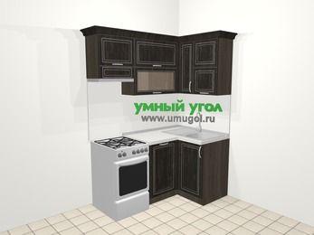 Угловая кухня МДФ патина в классическом стиле 5,0 м², 160 на 100 см, Венге, верхние модули 72 см, посудомоечная машина, отдельно стоящая плита