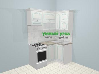 Угловая кухня МДФ патина в стиле прованс 5,0 м², 160 на 100 см, Лиственница белая, верхние модули 72 см, посудомоечная машина, отдельно стоящая плита