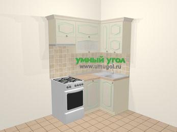 Угловая кухня МДФ патина в стиле прованс 5,0 м², 160 на 100 см, Керамик, верхние модули 72 см, посудомоечная машина, отдельно стоящая плита