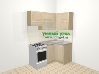 Угловая кухня из массива дерева в классическом стиле 5,0 м², 160 на 100 см, Светло-коричневые оттенки, верхние модули 72 см, посудомоечная машина, отдельно стоящая плита