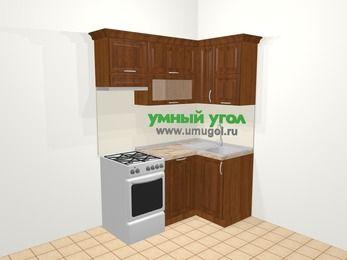 Угловая кухня из массива дерева в классическом стиле 5,0 м², 160 на 100 см, Темно-коричневые оттенки, верхние модули 72 см, посудомоечная машина, отдельно стоящая плита