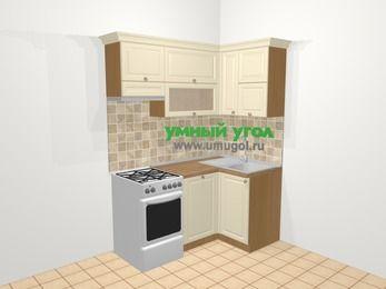 Угловая кухня из массива дерева в стиле кантри 5,0 м², 160 на 100 см, Бежевые оттенки, верхние модули 72 см, посудомоечная машина, отдельно стоящая плита