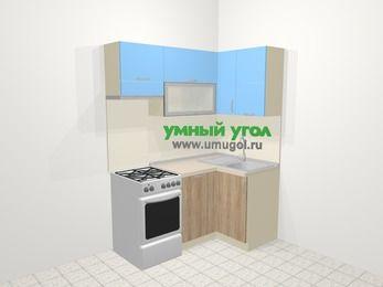 Угловая кухня из ЛДСП EGGER 5,0 м², 160 на 100 см, Голубой / Дуб, верхние модули 72 см, посудомоечная машина, отдельно стоящая плита