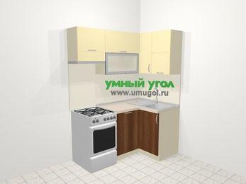 Угловая кухня из ЛДСП EGGER 5,0 м², 160 на 100 см, Ваниль / Орех, верхние модули 72 см, посудомоечная машина, отдельно стоящая плита