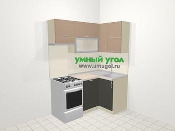 Угловая кухня из ЛДСП EGGER 5,0 м², 160 на 100 см, Бежевый / Трюфель, верхние модули 72 см, посудомоечная машина, отдельно стоящая плита
