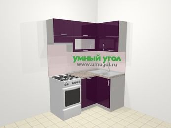 Угловая кухня МДФ глянец в современном стиле 5,0 м², 160 на 100 см, Баклажан, верхние модули 72 см, посудомоечная машина, отдельно стоящая плита