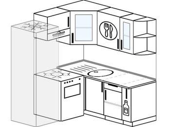 Угловая кухня 5,0 м² (1,6✕1,6 м), верхние модули 72 см, холодильник, отдельно стоящая плита