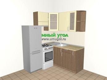 Угловая кухня МДФ матовый 5,0 м², 1600 на 1600 мм, Ваниль / Лиственница бронзовая, верхние модули 720 мм, холодильник, отдельно стоящая плита