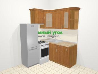Угловая кухня МДФ матовый в классическом стиле 5,0 м², 160 на 160 см, Вишня, верхние модули 72 см, холодильник, отдельно стоящая плита