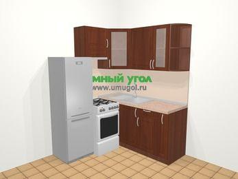 Угловая кухня МДФ матовый в классическом стиле 5,0 м², 160 на 160 см, Вишня темная, верхние модули 72 см, холодильник, отдельно стоящая плита