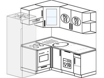 Угловая кухня 5,0 м² (1,6✕1,6 м), верхние модули 72 см, посудомоечная машина, встроенный духовой шкаф, холодильник