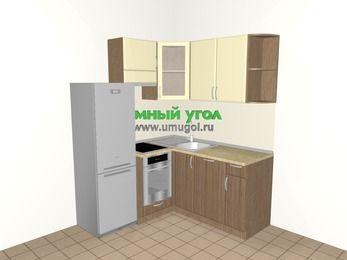 Угловая кухня МДФ матовый 5,0 м², 1600 на 1600 мм, Ваниль / Лиственница бронзовая, верхние модули 720 мм, посудомоечная машина, встроенный духовой шкаф, холодильник
